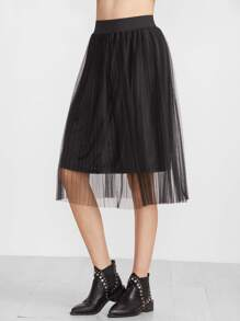 Black Pleated Mesh Overlay Midi Skirt