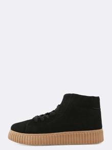 High Shaft Gum Sole Sneakers BLACK