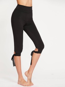 Wide Waistband Tie Hem Crop Leggings