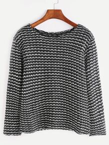 Black And White Long Sleeve Slub Sweater