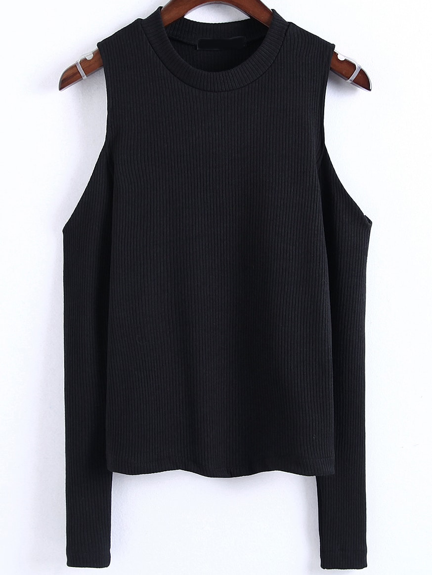 Black Cold Shoulder Ribbed Top