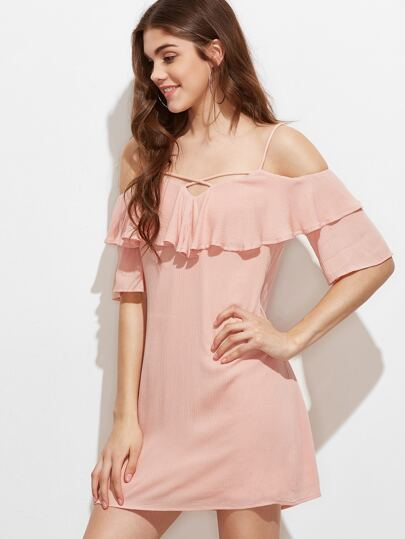 Pink Crisscross Front Ruffle Cold Shoulder Crinkle Dress
