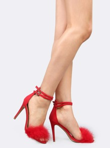 Open Toe Faux Feather Heels RED