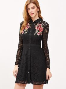 Black Embroidered Rose Applique Lace Shirt Dress