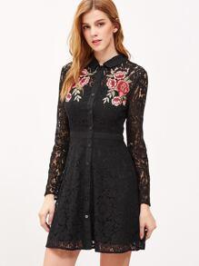 Black Embroidered Rose Applique Lace Shirt Dress