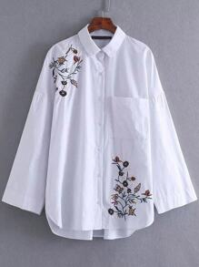 White Floral Embroidery Blouse With Pocket
