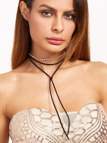 Rhinestone Embellished Tie Front Layered String Choker Necklace