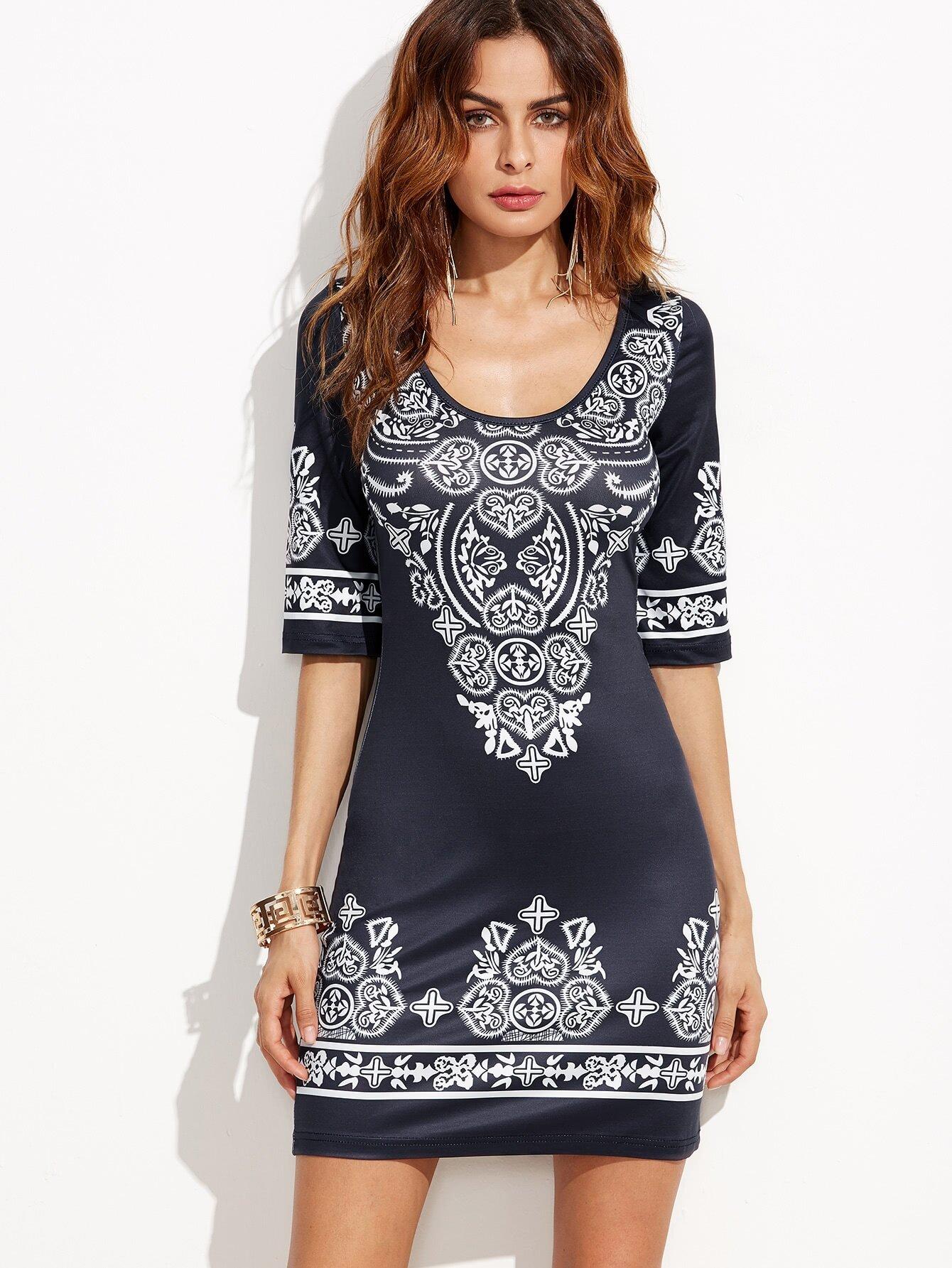 U Neck Vintage Print Bodycon Dress tribal print u back bodycon dress