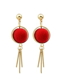 New Model Red Ball Long Spike Earrings