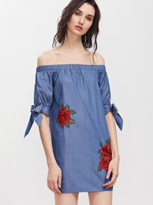 Blue Tie Sleeve Embroidered Flower Applique Chambray Dress