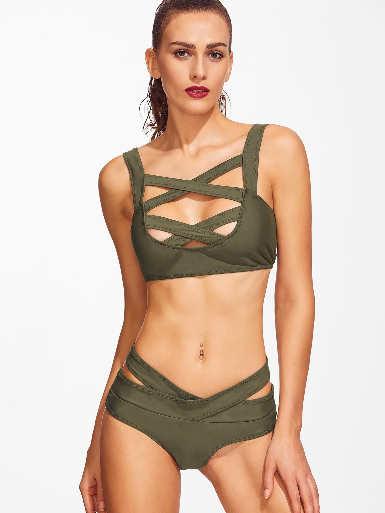 Army Green Criss Cross Cutout Bikini Set swimwear161226311