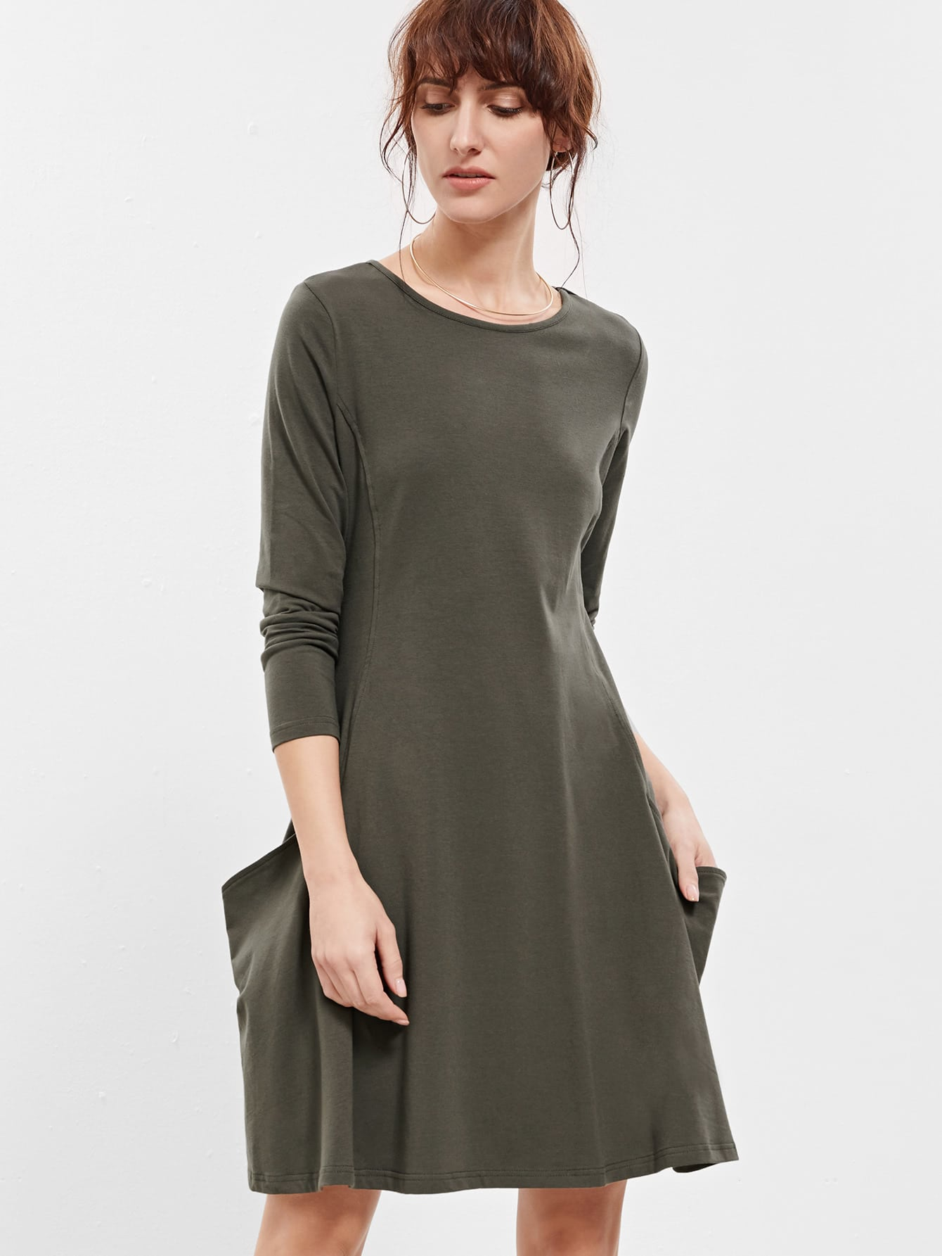 T shirt dress with pockets shein sheinside for Dress shirt no pocket