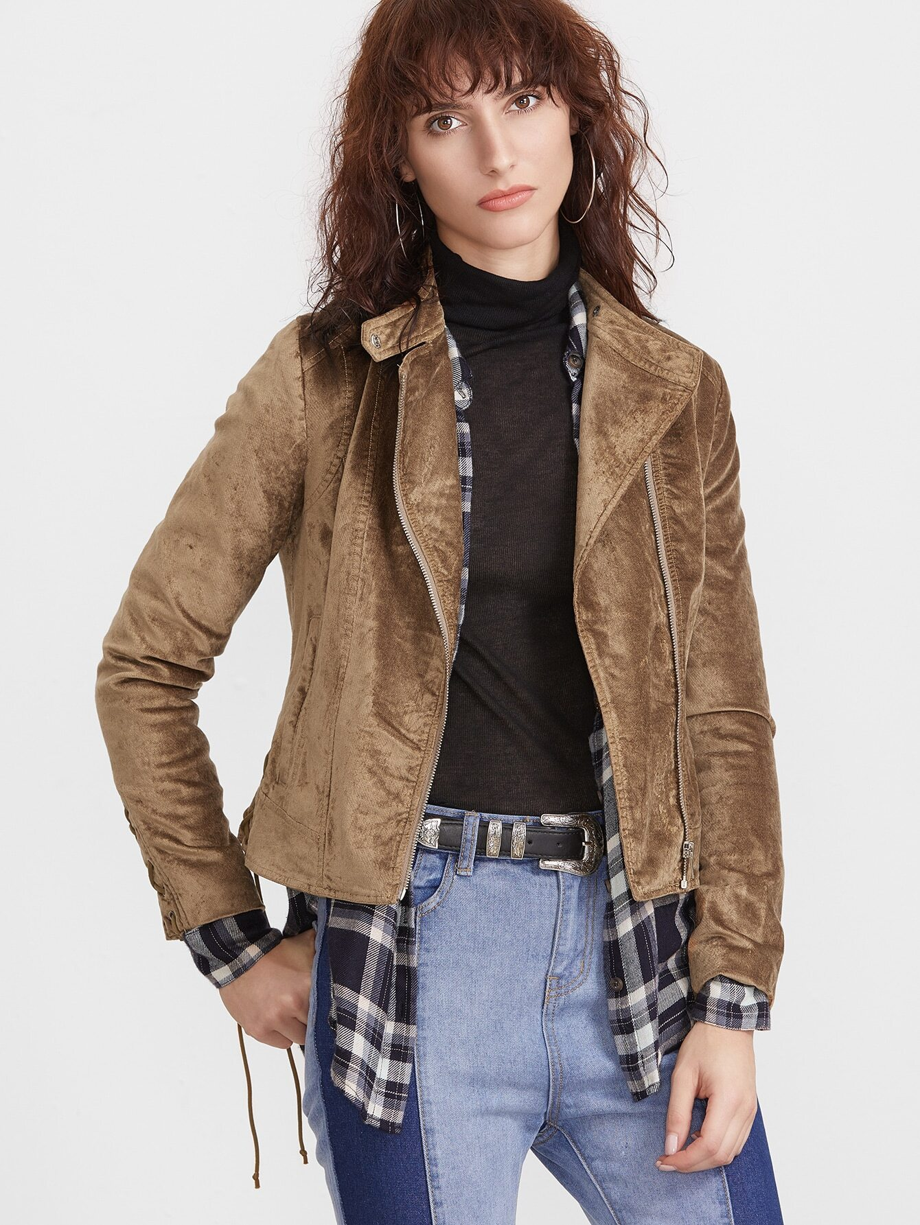 Coffee Stand Collar Asymmetric Zip Jacket With Lace Up DetailCoffee Stand Collar Asymmetric Zip Jacket With Lace Up Detail<br><br>color: Coffee<br>size: L,M,S,XS