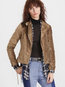 Coffee Stand Collar Asymmetric Zip Jacket With Lace Up Detail