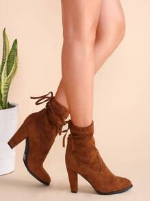 Camel Faux Suede Point Toe Tie Back Boots