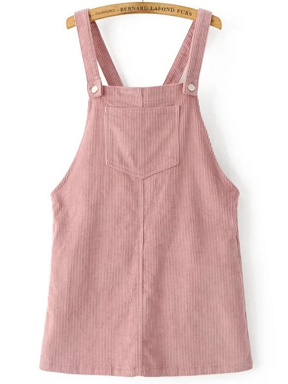Pink Corduroy Overall Dress With Pocket dress161221203