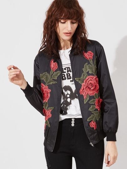 Black Embroidered Rose Applique Zip Up Bomber Jacket