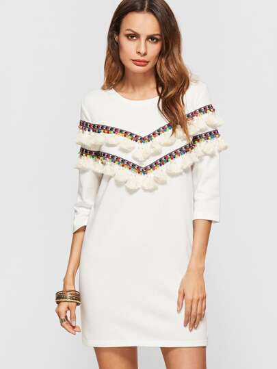 White 3/4 Sleeve Dress With Embroidered Tape And Tassel Detail