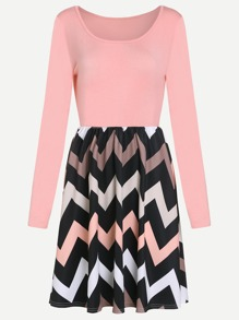 Pink Chevron Pattern Combo Dress