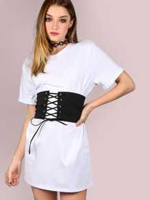 Belted Corset Shirt Dress WHITE