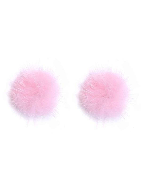 Pink Pom Pom Stud Earrings, null