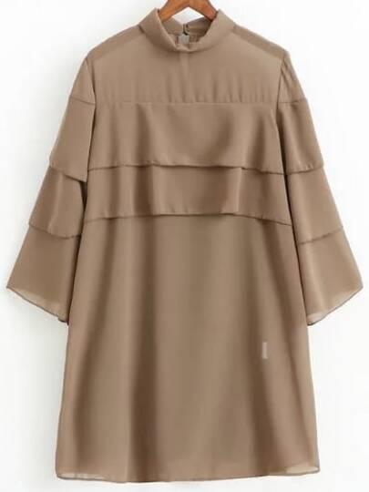 Khaki Three Quarter Sleeve Layered Dress