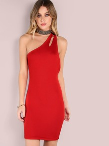 Split Strap One Shoulder Bodycon Dress RED ORANGE
