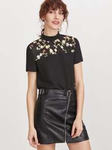 Black Flower Embroidered Yoke Tie Back Short Sleeve Top