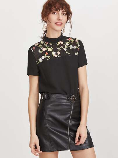 Flower Embroidered Yoke Tie Back Top
