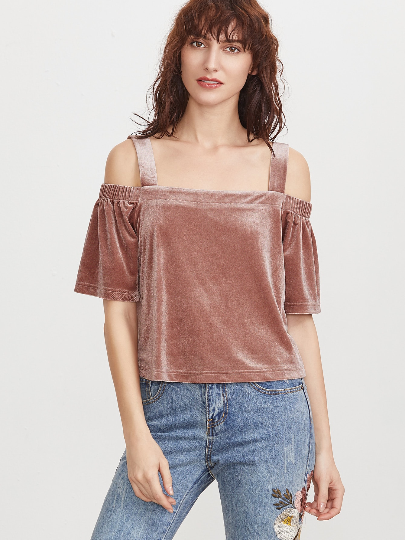 Buy Brick Red Cold Shoulder Velvet Top