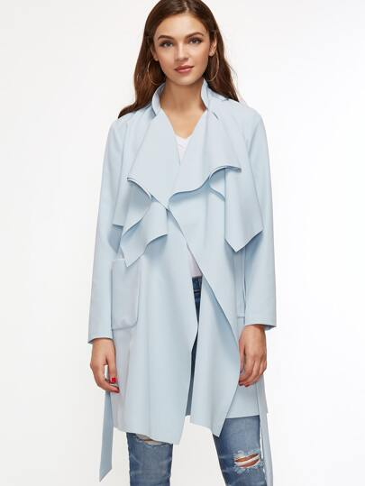 Blue Drape Collar Pocket Front Wrap Coat