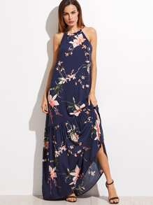 Navy Floral Print Halter Ruffle Maxi Dress