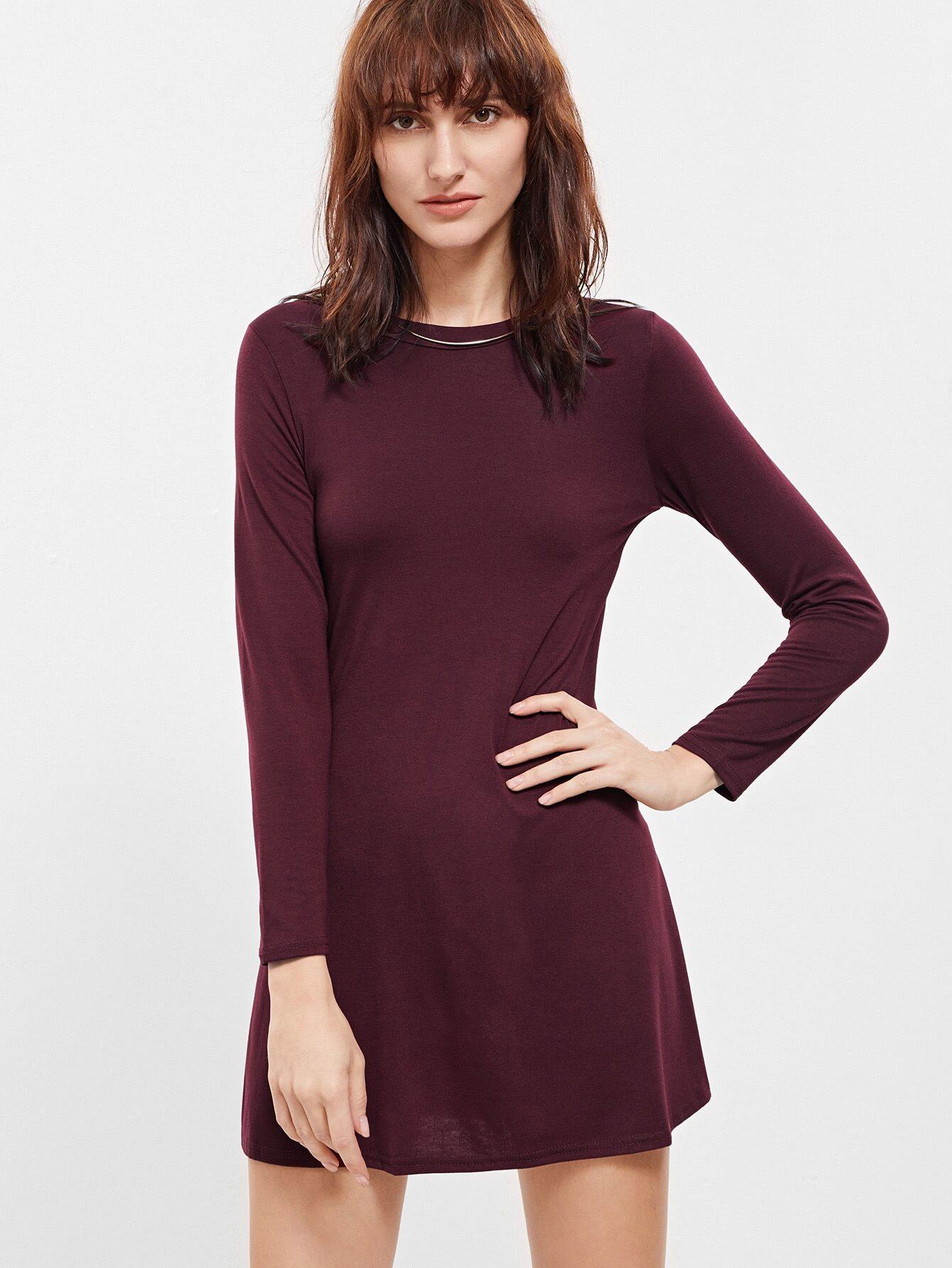 Burgundy Long Sleeve Shift Dress -SheIn(Sheinside)