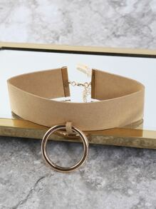 Oversized Hoop Faux Suede Choker TAUPE