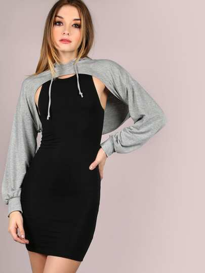 Cut Out Cropped Hoodie HEATHER GREY