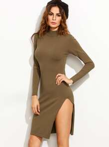 Brown High Neck Slit Knit Sheath Dress