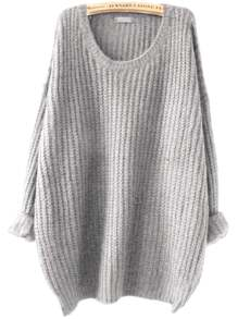Grey Drop Shoulder Textured Sweater