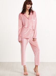 Pink Velvet Drop Shoulder Pajama Set