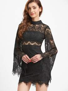Black Bell Sleeve Eyelash Lace Bodycon Dress