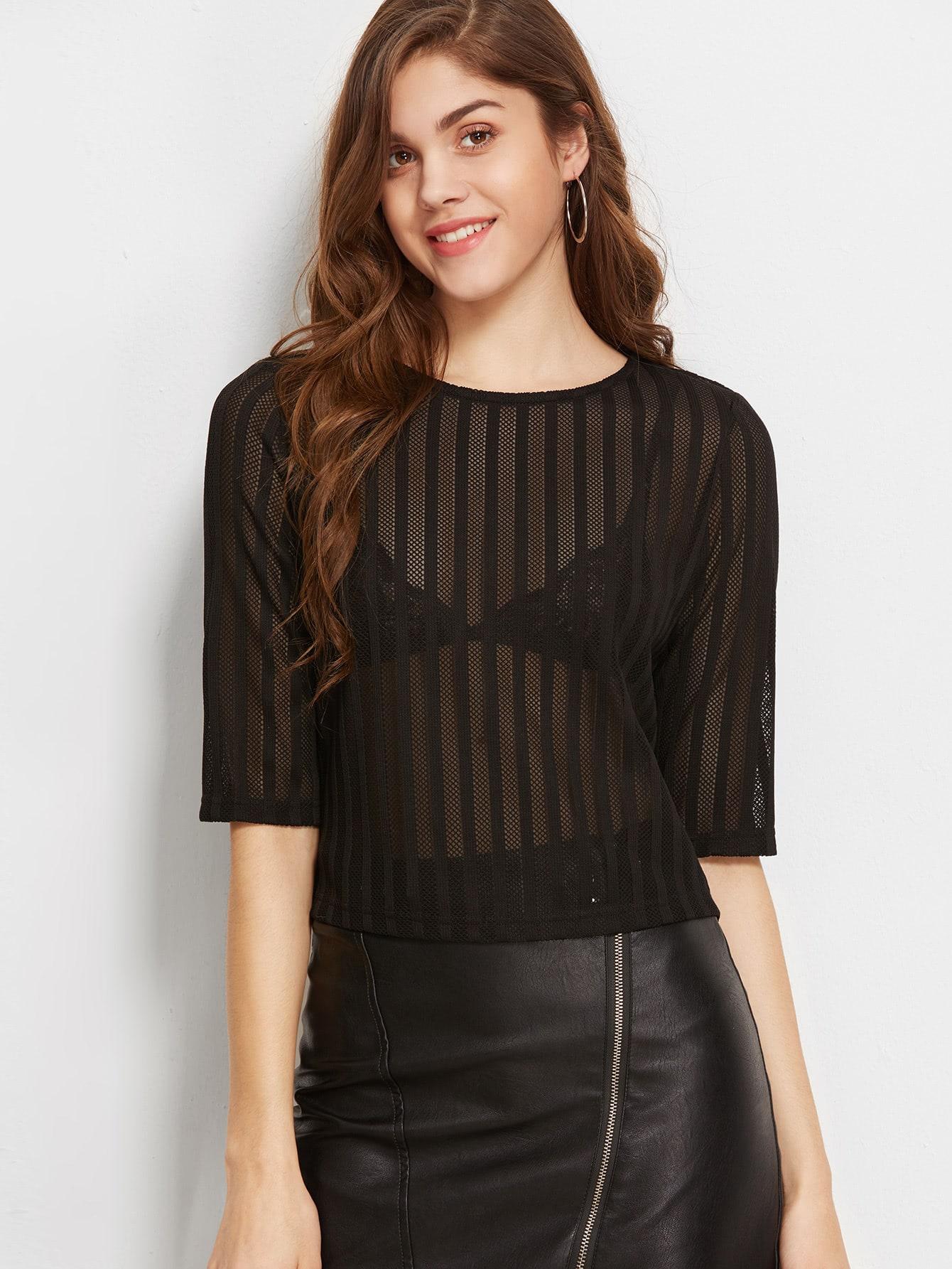 Half Sleeve Sheer Striped Mesh Top blouse161220702
