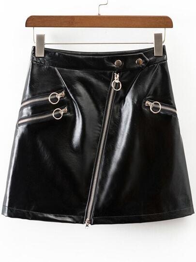 Oblique Zipper Faux Leather Skirt