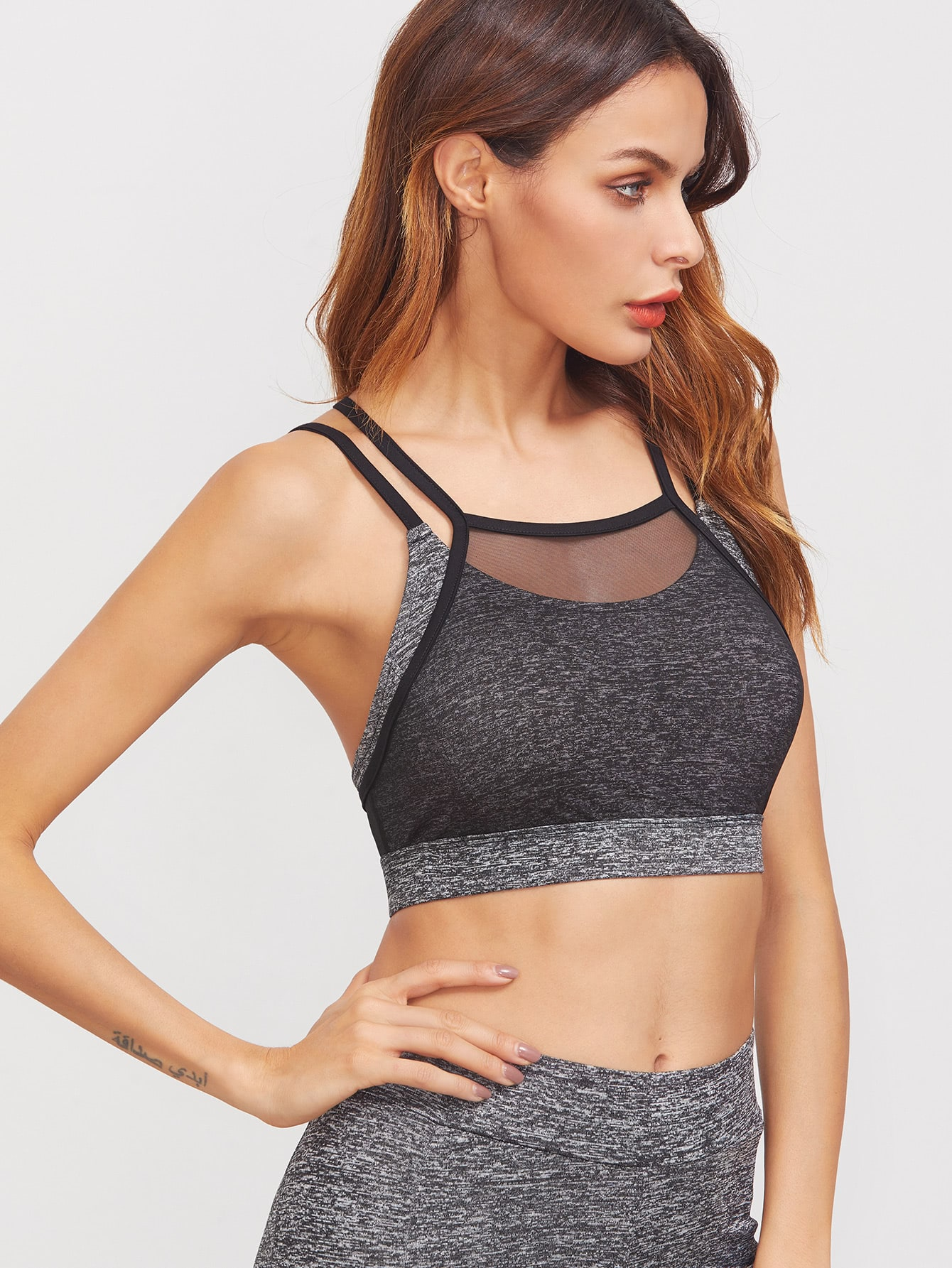 Grey Marled Knit Contrast Mesh Overlay Crisscross Back Sports Bra