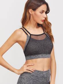 Space Dye Contrast Mesh Overlay Crisscross Back Sports Bra