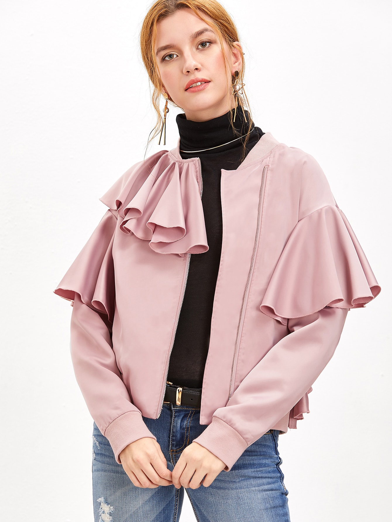 Purple Zip Up Ruffle Trim Bomber Jacket