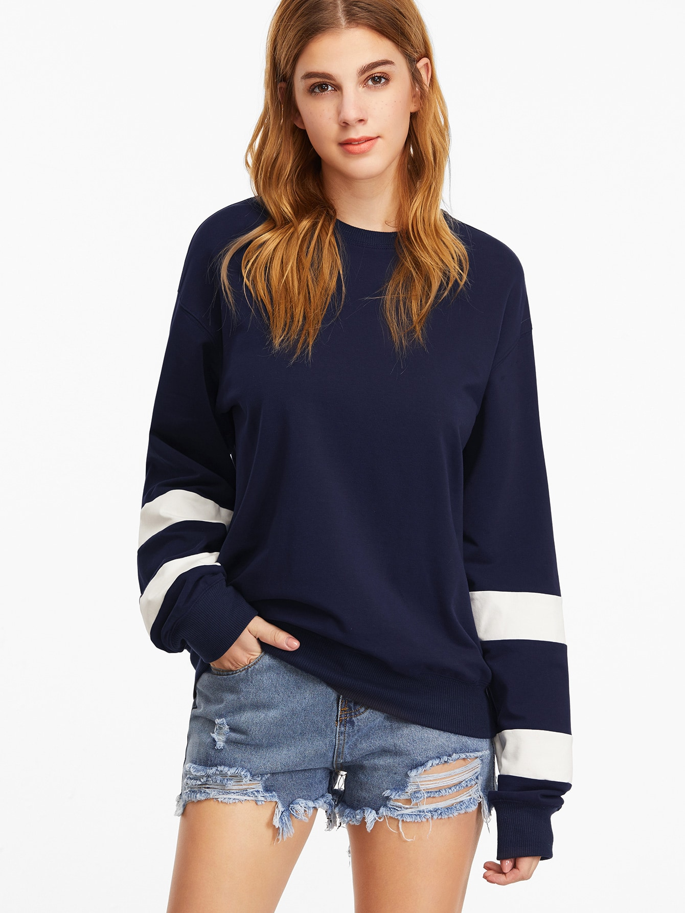 Navy Drop Shoulder Striped Sleeve Sweatshirt drop shoulder grommet tie detail sweatshirt