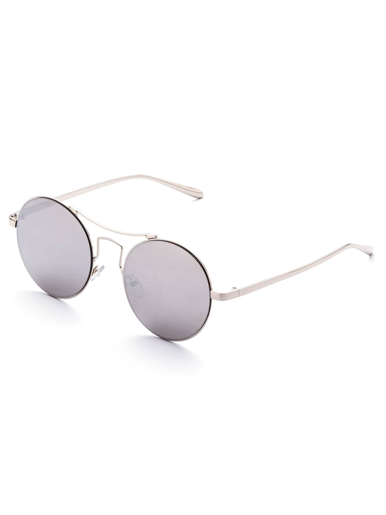 Silver Frame Mirrored Lens Round Retro SunglassesSilver Frame Mirrored Lens Round Retro Sunglasses<br><br>color: Silver<br>size: None