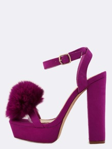 Faux Fur Ball Platform Heels PURPLE