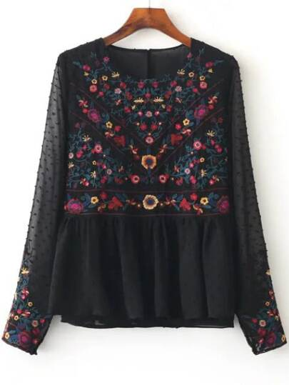 Floral Embroidery Mesh Blouse