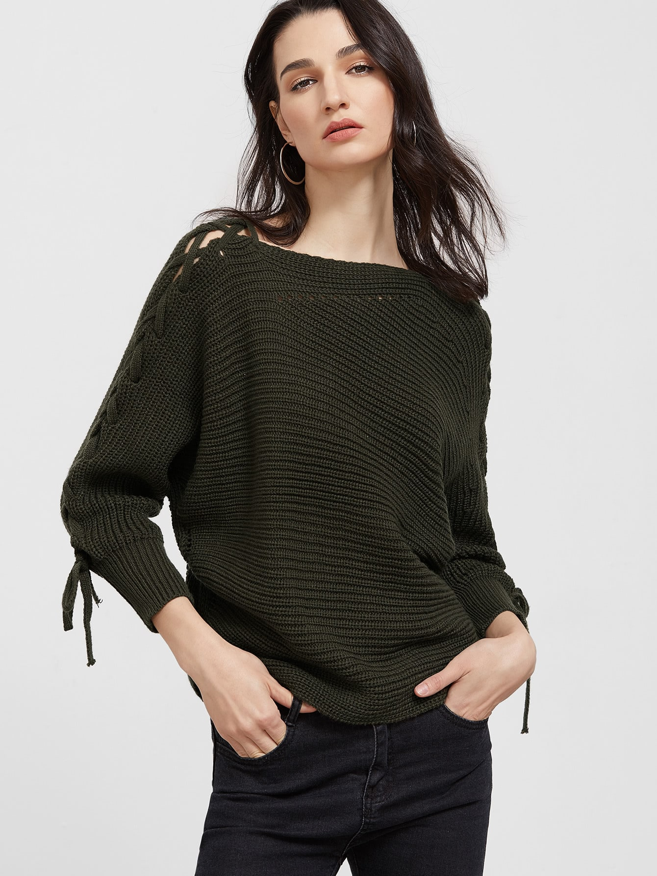 Army Green Lace Up Sleeve Sweater sweater161213001