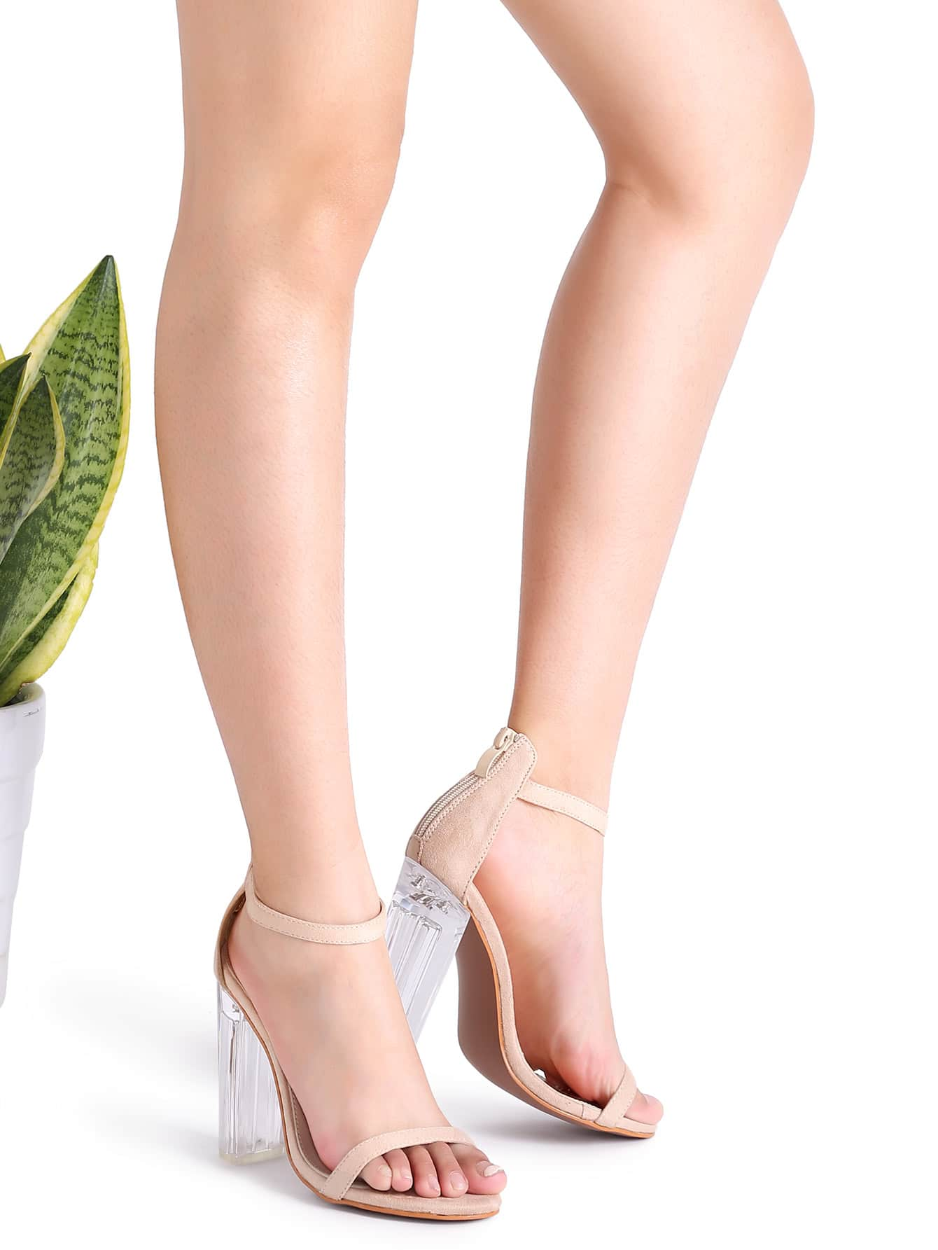 Apricot Ankle Strap Transparent Chunky Heels